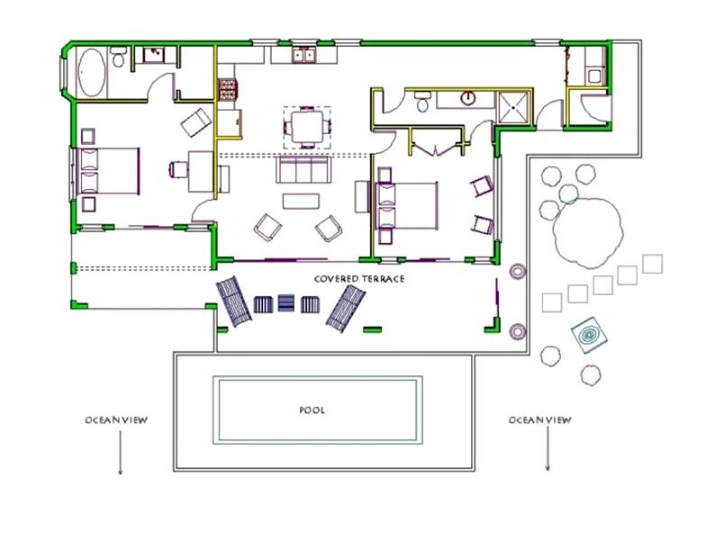 Villa Floor Plan. Note the bedrooms are very private.