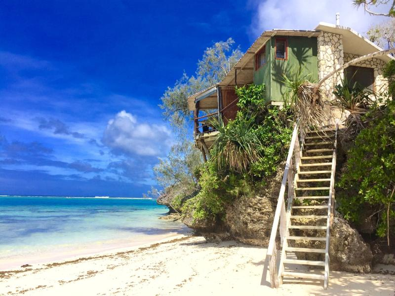 Steps up to the Beach House from your secluded beach