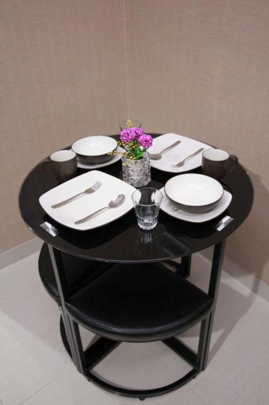 Dining table with complete dining ware