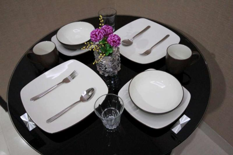 Dining table with dining ware