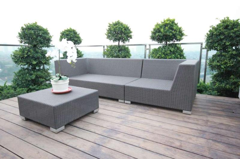 Outdoor seating at roof top garden