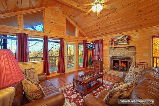 Living Room with Fireplace at Paradise Found