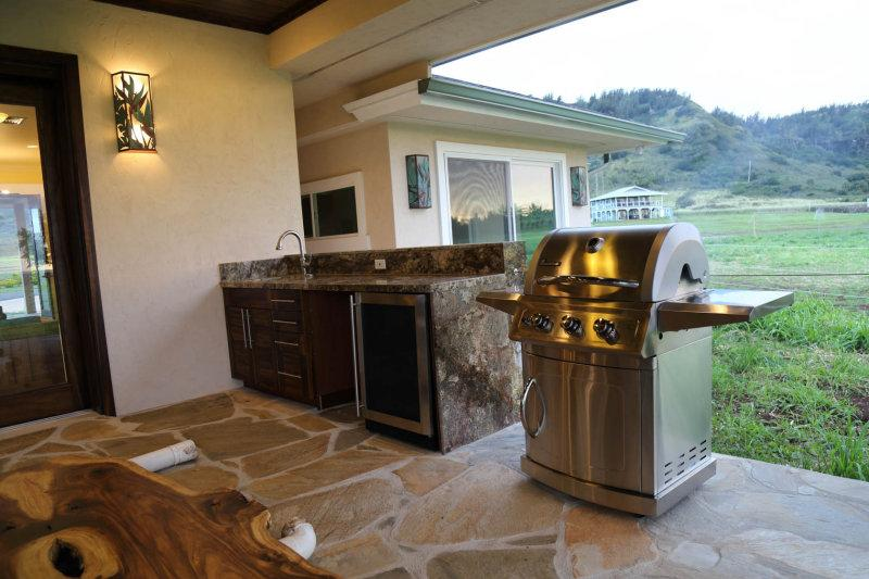 BBQ grill and wine/beverage cooler