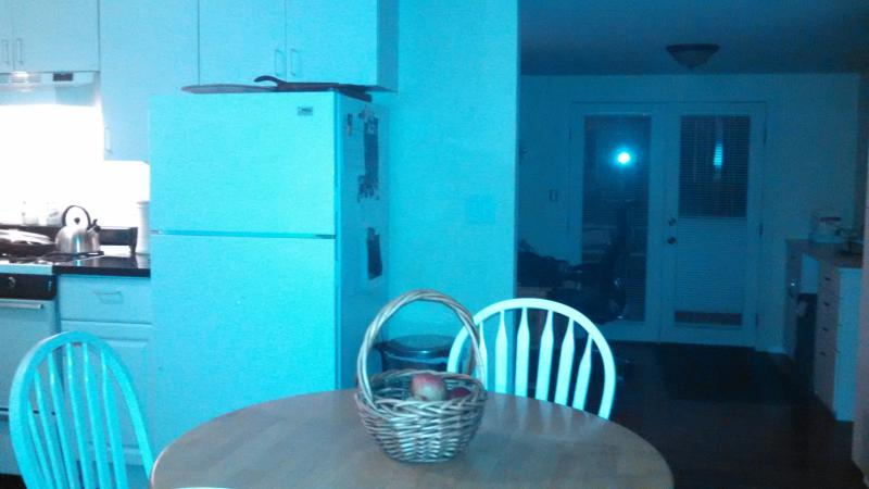 Kitchen table looking out to French doors heading to back patio