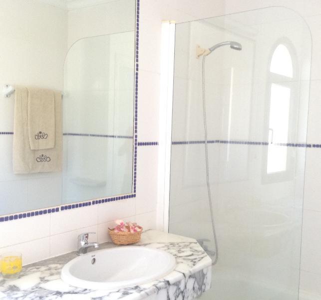 Baño con ducha  y mampara. Secador de pelo