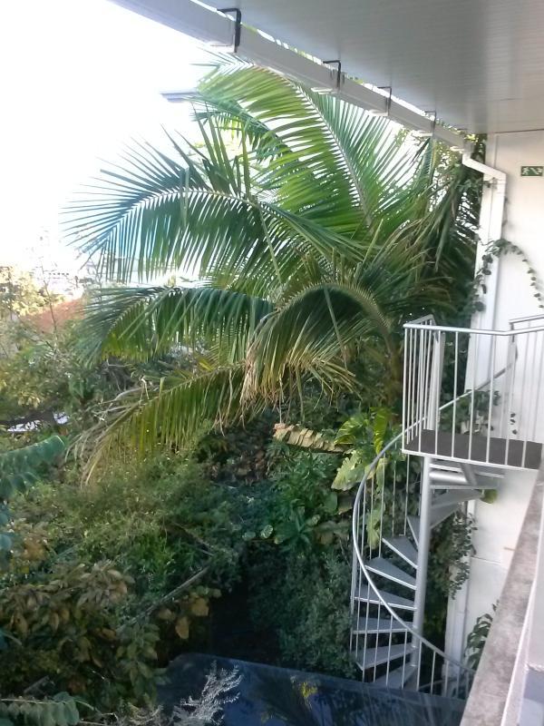 Spiral staircase from Terrace to Courtyard garden