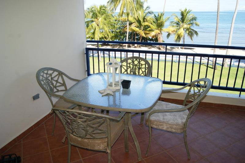 Balcony seating area. Very private.  Faces directly the Caribbean Sea.