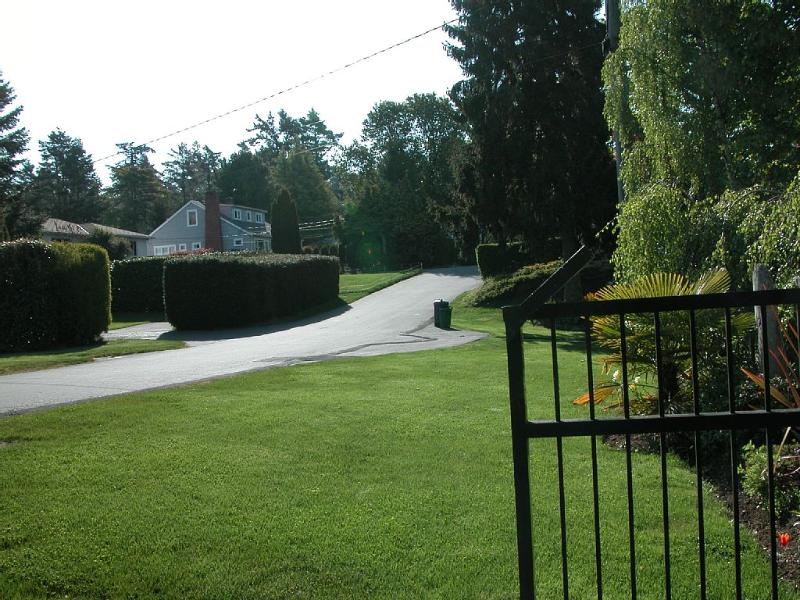 view of the street from the property gates