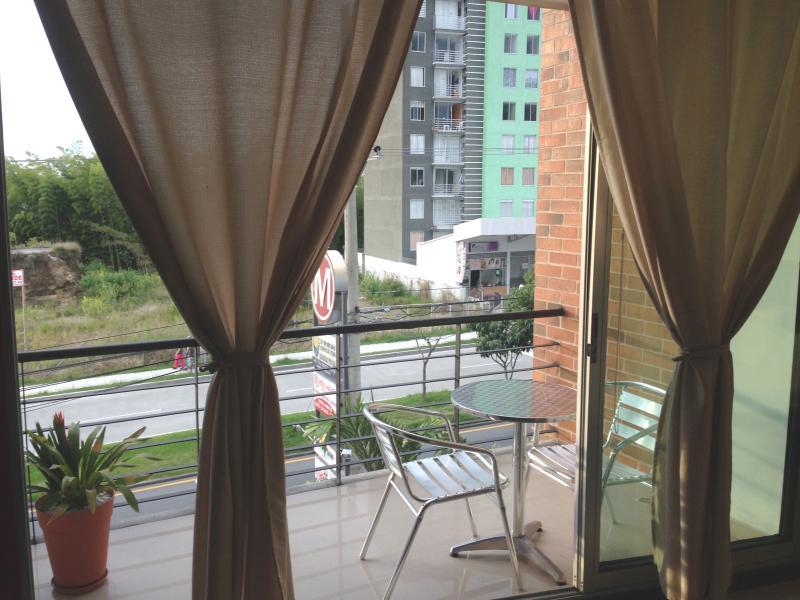 Cozy balcony with street view