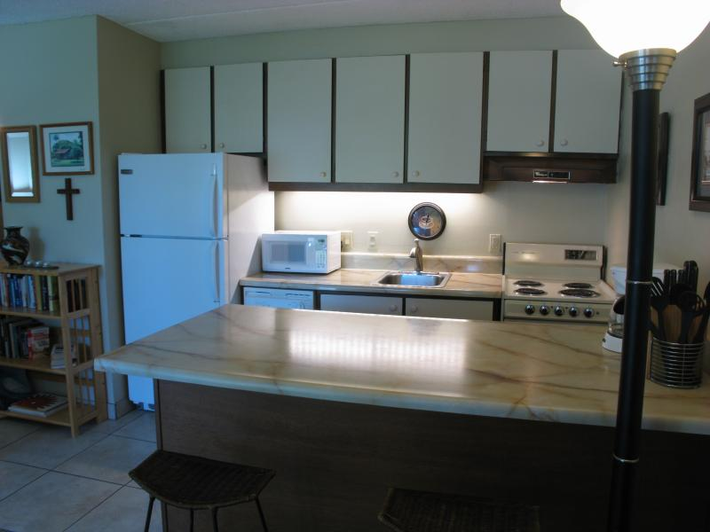 Kitchen area with refrigerator, oven, microwave, dishwasher, garbage disposal, and cabinetry