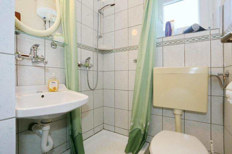 Bathroom with shower, shower gel, soap, shampoo and hairdryer