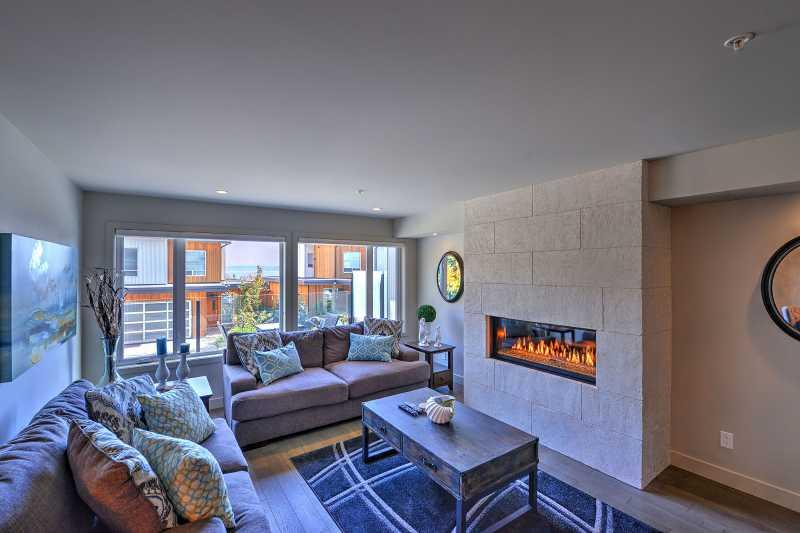 Contemporary gas fireplace.