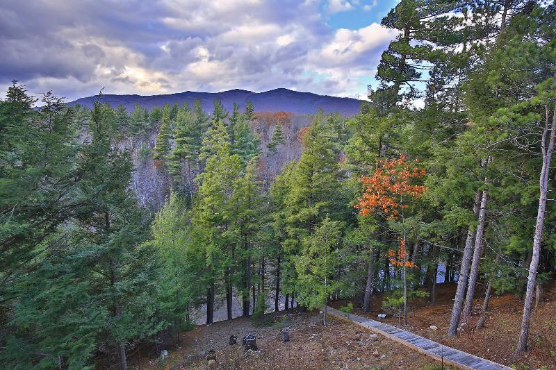 Stephenson Mountain Range and stairs leading down to Ausable River bank from house