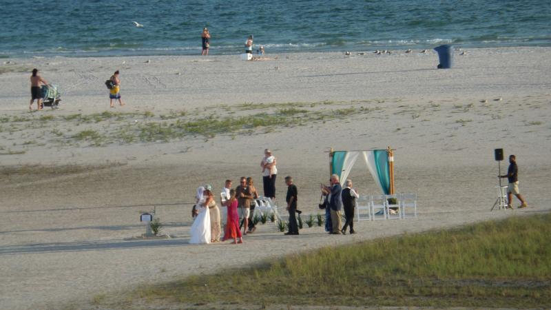 What a beautiful wedding preparation directly on the beach behind our building.