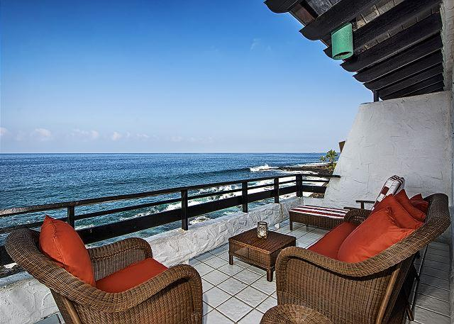 Comfy private seating on the massive lanai!