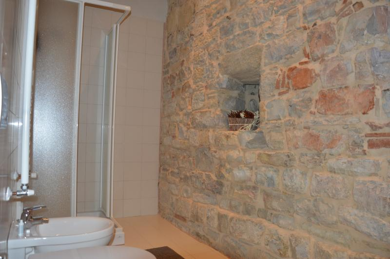 the shower and on the right the old louver.
