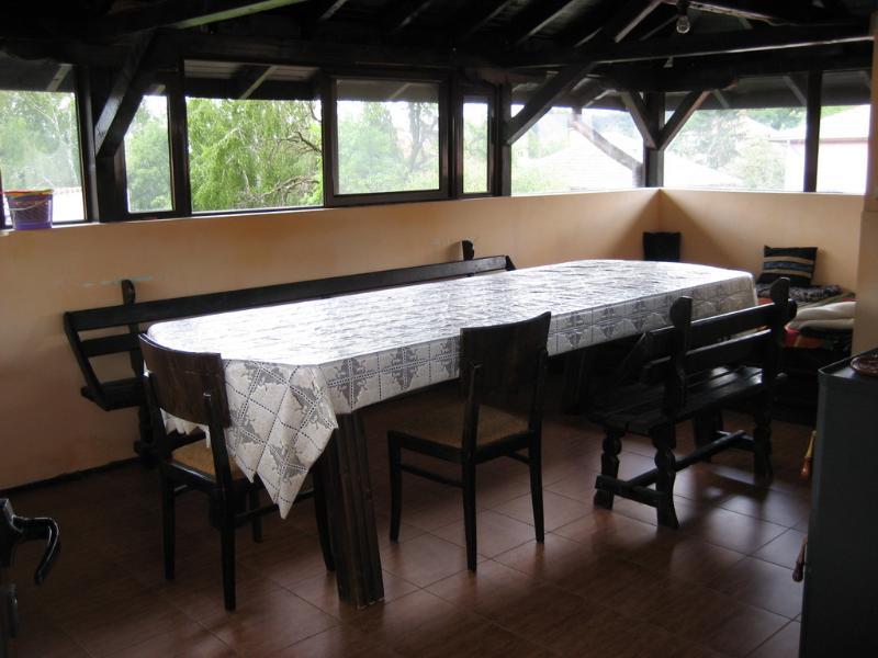 Inside the chardak (covered veranda)