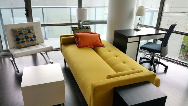 Sofa convertible to an additional sleeping space for an extra guest.
