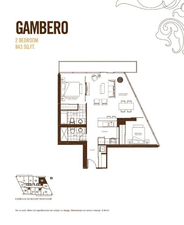 Spacious corner-unit open concept floor plan with 2 full bedrooms and 2 bathrooms.