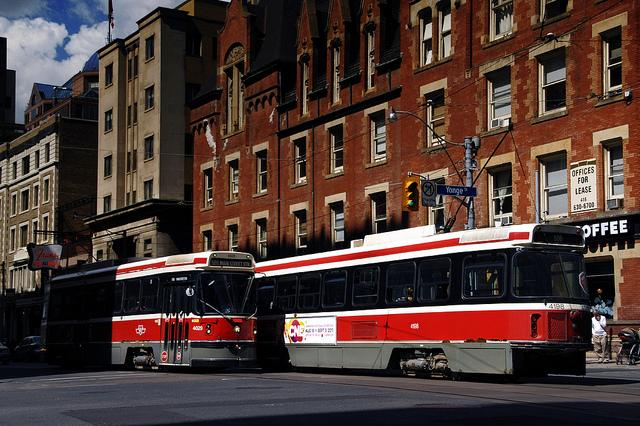 Public transit just steps from the apartment building.