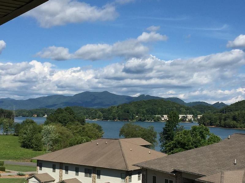 Upper level mountains and lake views from over sized covered deck (sunny Day)