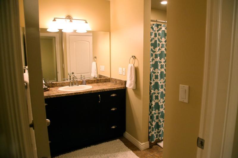 Belle salle de bain principale avec beaucoup d'espace de comptoir, prises électriques et tiroirs de rangement