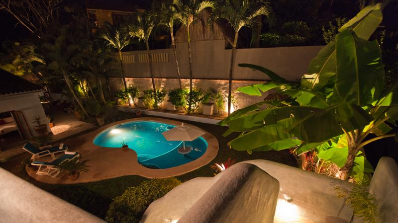 View of the walk in pool from the detached casita balcony.  The pool is one of the largest in the ar