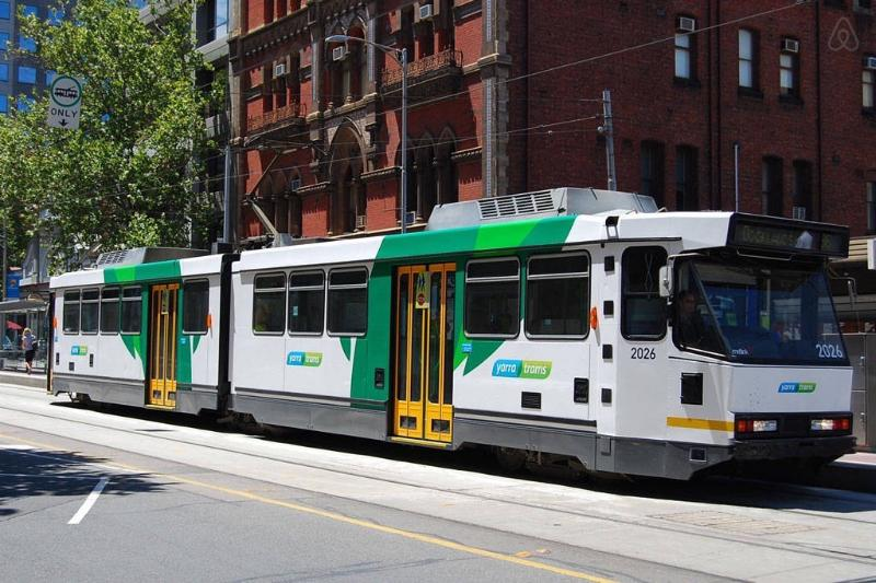 A tram stop located just outside the building.