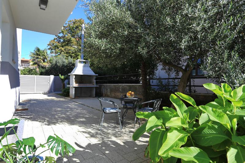 Outdoor furniture under the olive tree, enjoy the barbecue in the evenings.