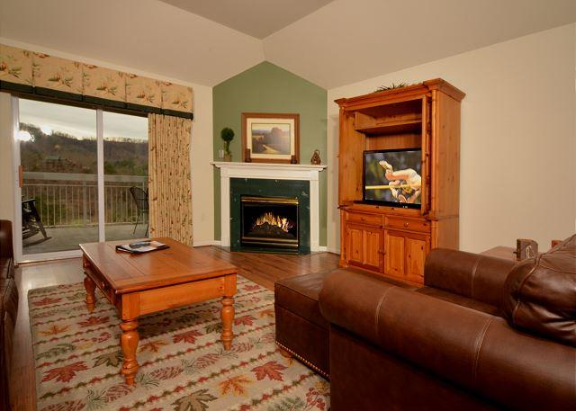Hardwood in Living Room with Seasonal Fireplace and Flat Screen