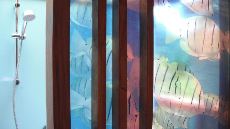Double aquarium featured shower.