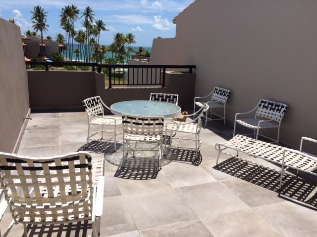 3rd. floor Terrace w / view to garden, pool and beach.