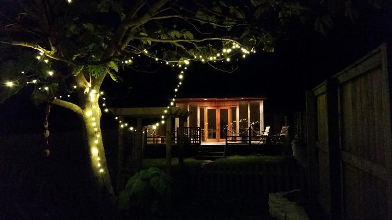 Garden and summer house at night