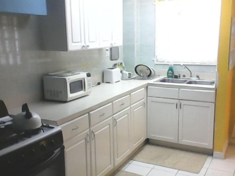 Clean and nice kitchen. Microwave, stove kettle toaster. All mod cons