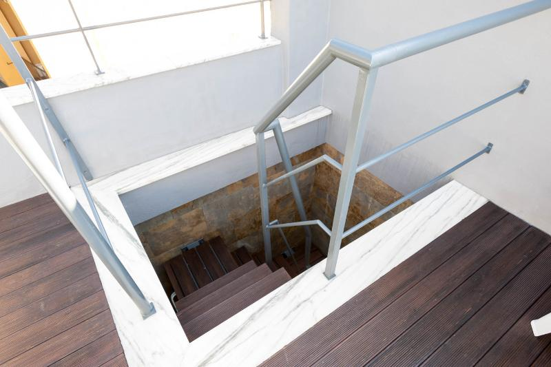 Staircase to the rooftop from the dining room