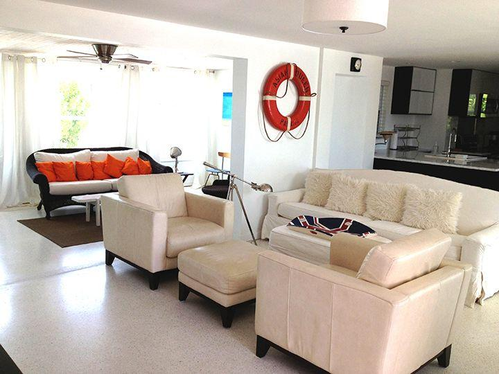Living room. Terrazo floor throughout.