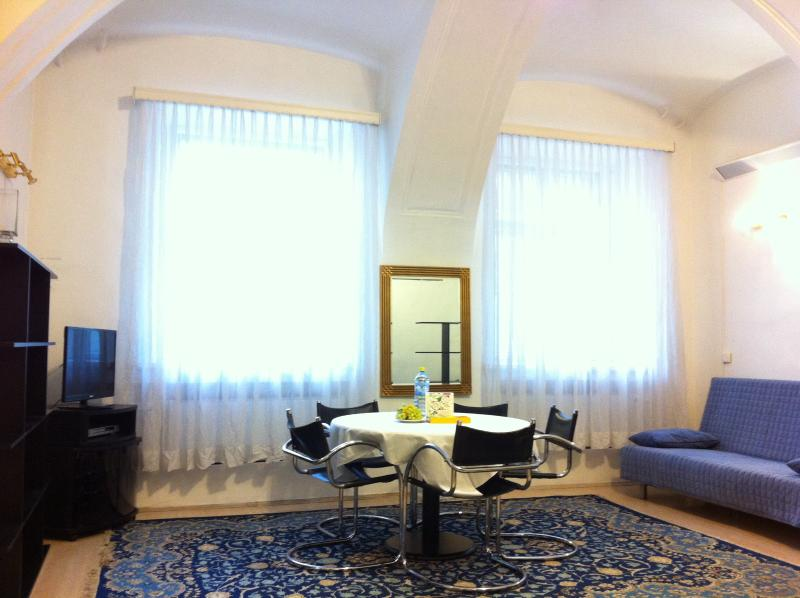 High arched ceiling, big spacious room, windows are mat