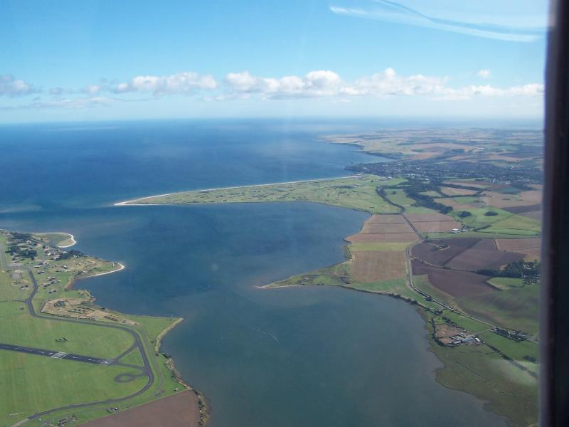 The Eden estuary and an aerial view of the 'Old Course'