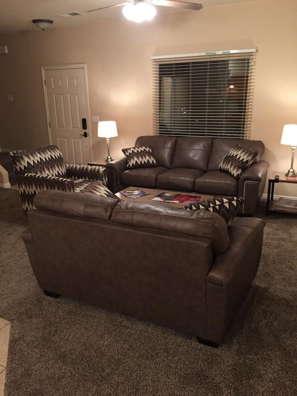 Living Room with Premium Leather Sleeper Sofa and Loveseat