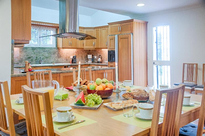 Modern gourmet kitchen from the breakfast table