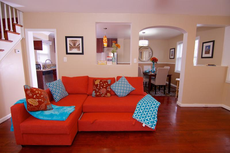 Comfortable living room with sofa bed