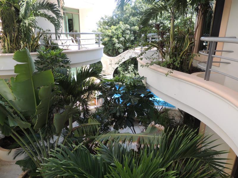 jardin et petite piscine partagée