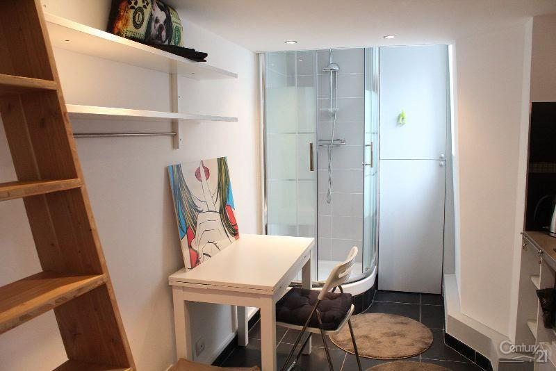 Room for living with a window, kitchen and shower & the ladder for mezzanine at the entrance