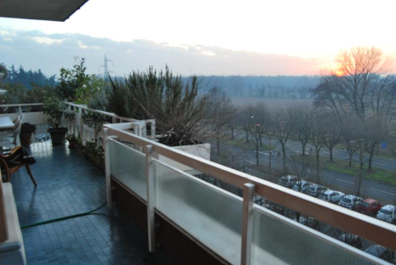 On the terrace which overlooks the room