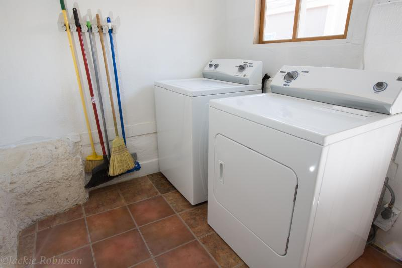 Full size washer and dryer for your convenience.  Detergent and softener provided.