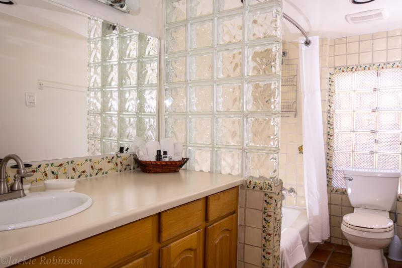 Bathroom with heated floors and gorgeous talavera tile accents.