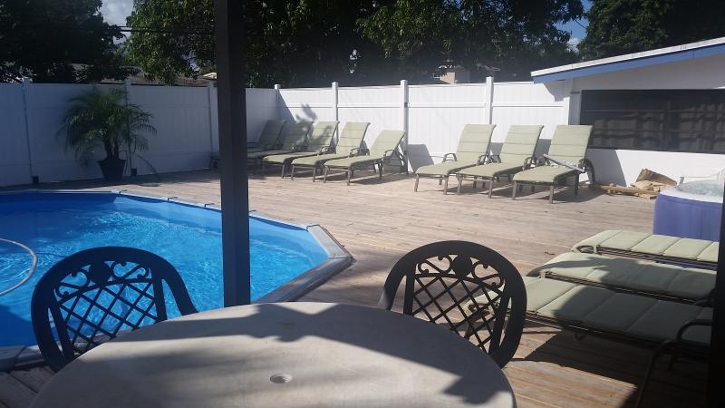Heated Pool on Privacy 1600 square feet deck with gazebo