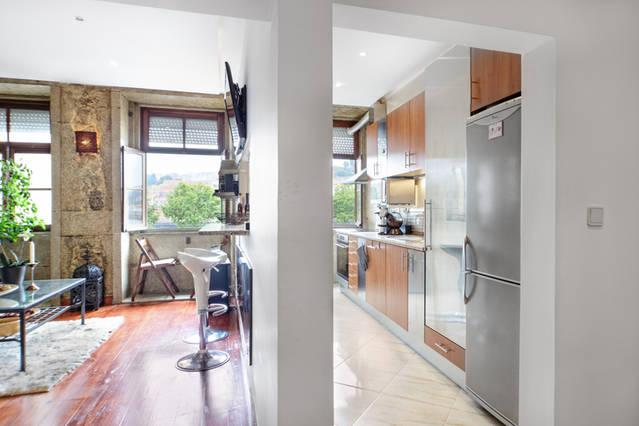 View of Kitchen and lounge from the entrance door,
