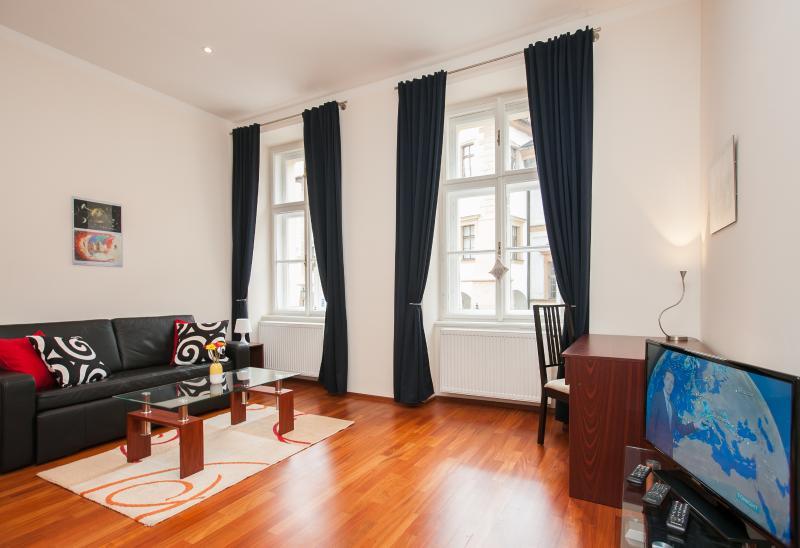 Salle de séjour, lumineuses grandes fenêtres