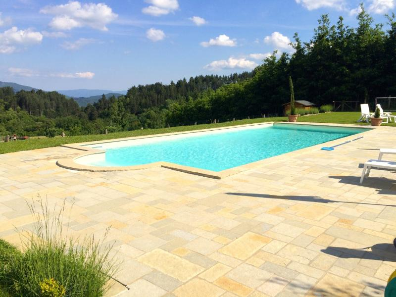 Large private Pool with stunning view of countryside and mountains beyond - just relax!
